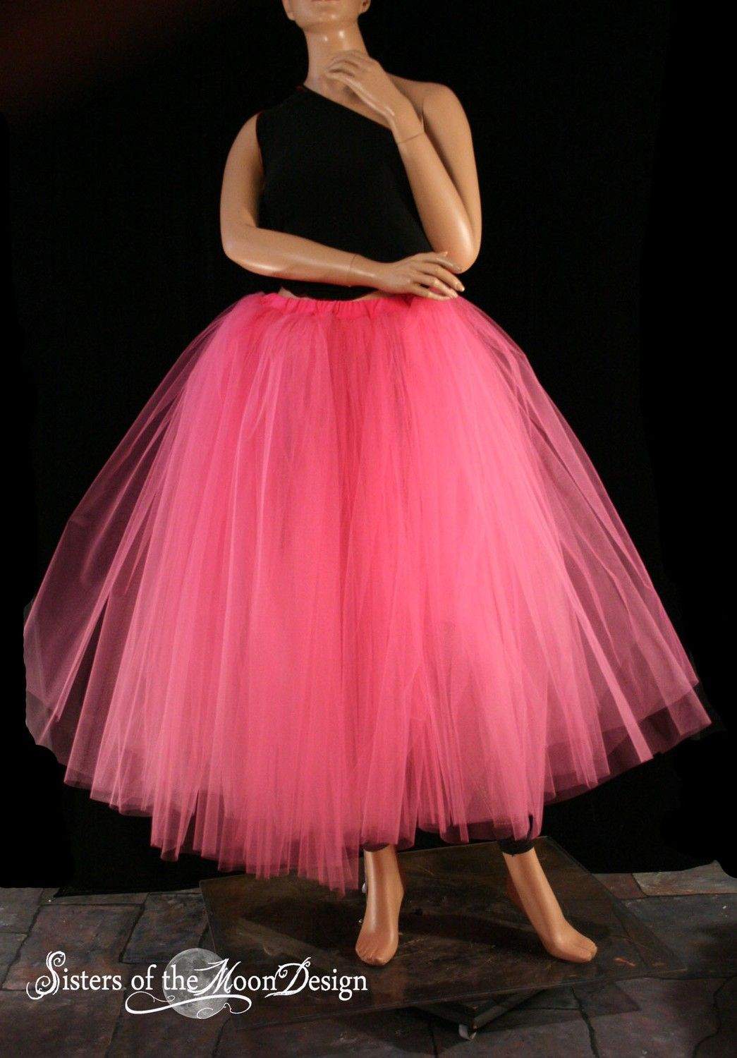 Hot Pink Floor length Adult tutu tulle skirt petticoat two layer ...