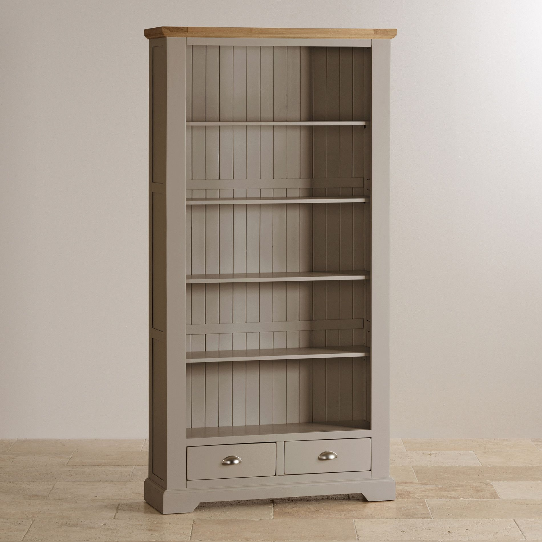 St Ives Painted Acacia Bookcase With Natural Oak Base Soft Light Grey Paint