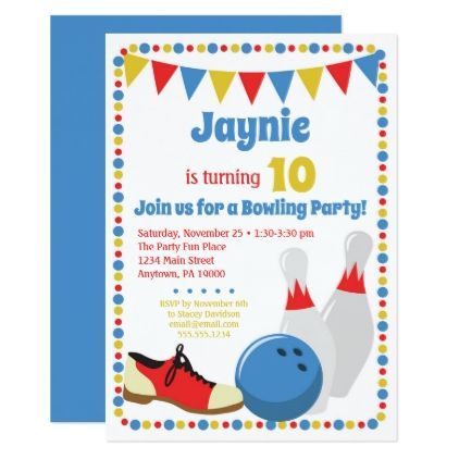 Bowling invitation bowling birthday party birthday cards bowling invitation bowling birthday party birthday cards invitations party diy personalize customize celebration bookmarktalkfo Image collections