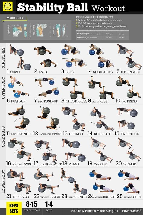 Exercise Ball Workout Exercise Poster for Men 18X24 Laminated