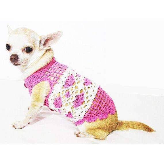 Rosa perros ropa para mascotas ropa ganchillo Chihuahua neta vestido ...