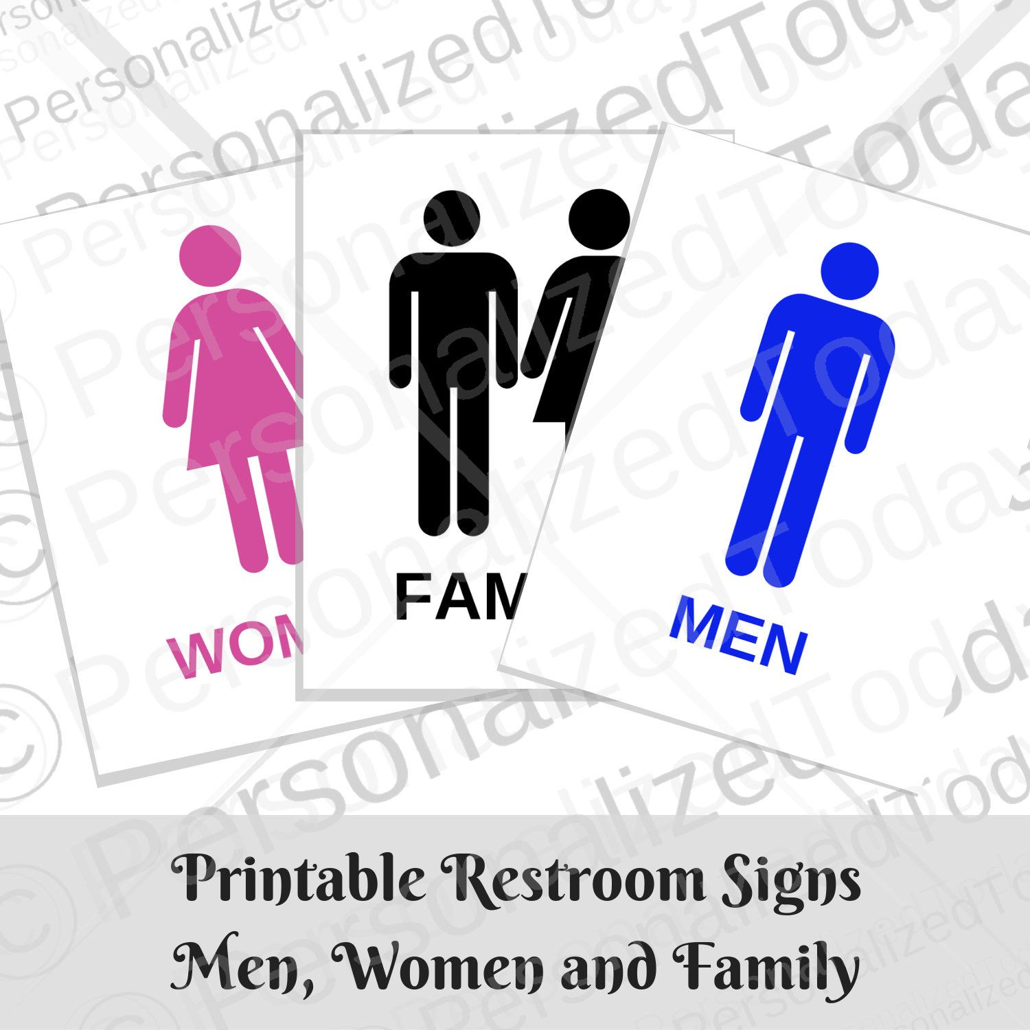 Bathroom Door Restroom Printable Signs Men Women And Family With Bonus Employees Only And Restroom Out Of Order Printable Signs Printable Signs Sign Man Wash Hands Sign