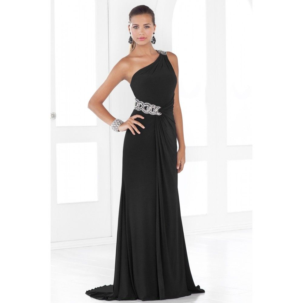 Aline one shoulder beaded chiffon long black evening dress semi