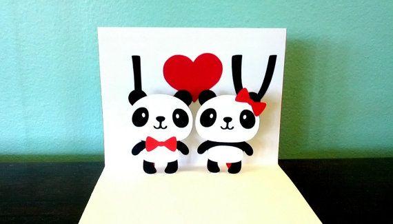 Pop Up Card Panda Happy Birthday Etsy Panda Card Panda Birthday Cards Valentines Cards