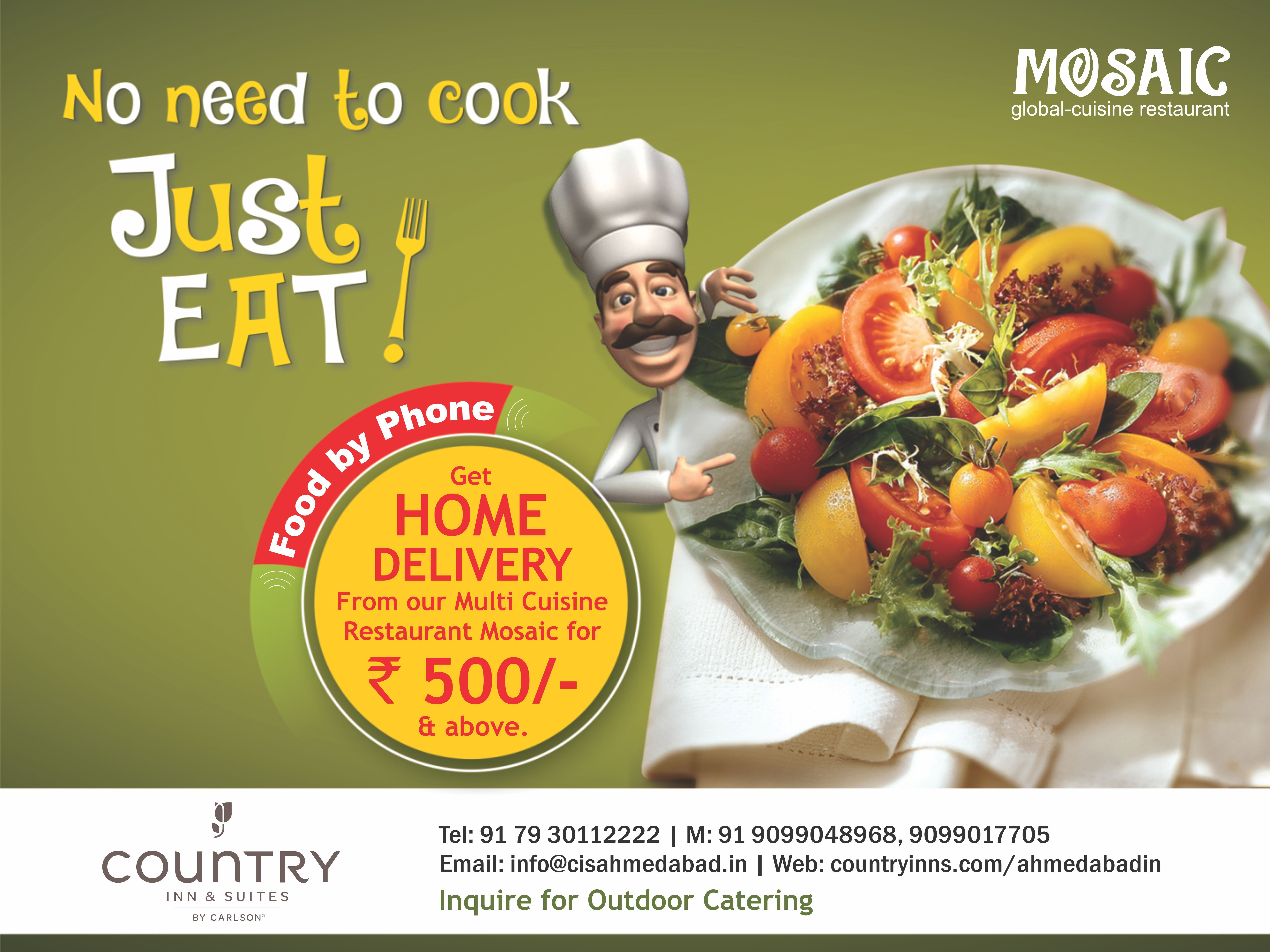 Good news get home delivery for rs 500 above at only mosaic food forumfinder Image collections