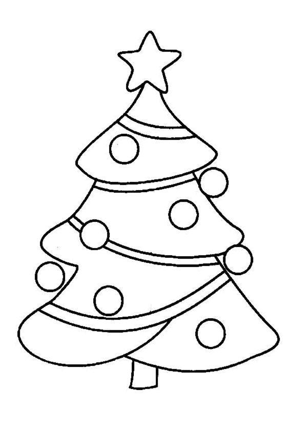Kleurplaat Simpele Kerstboom Archidev