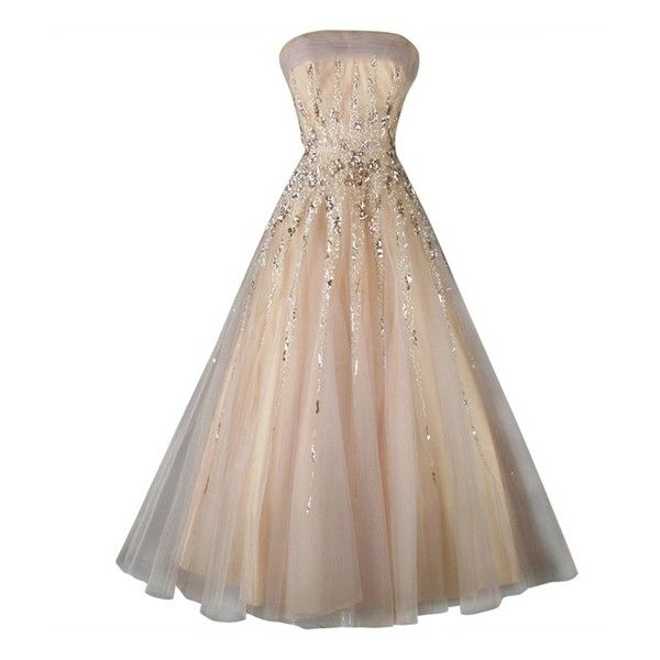 Vintage 1950's Mildred Moore Sequins Tulle Princess Gown found on Polyvore featuring dresses, gowns, strapless ball gown, vintage gowns, vintage ball gowns, tulle gown and sequin evening gowns