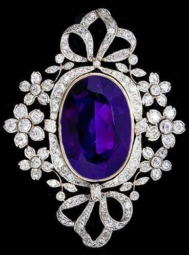 Victorian Amethyst And Diamond Set Brooch French Hallmarks