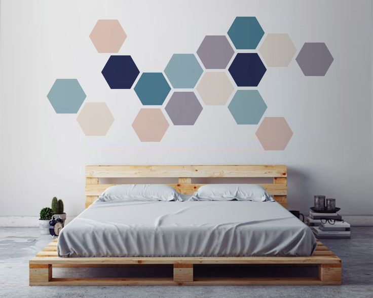 09 Simple Geometric Wall Art Made With Removable Hexagon Stickers    Shelterness