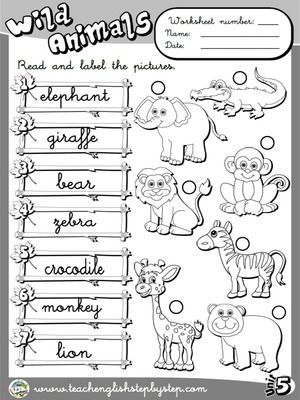 wild animals worksheet 2 b w version english worksheets pinterest. Black Bedroom Furniture Sets. Home Design Ideas
