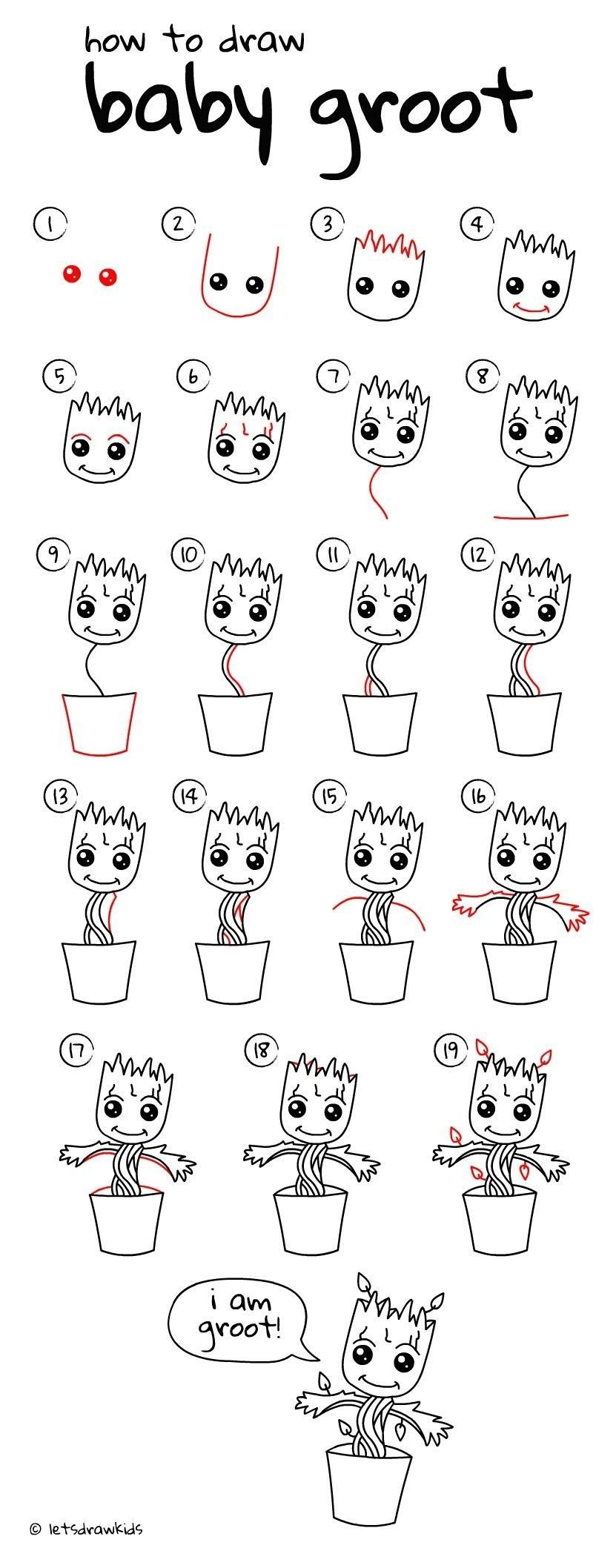 Discover Ideas About How Draw To Baby Groot Easy