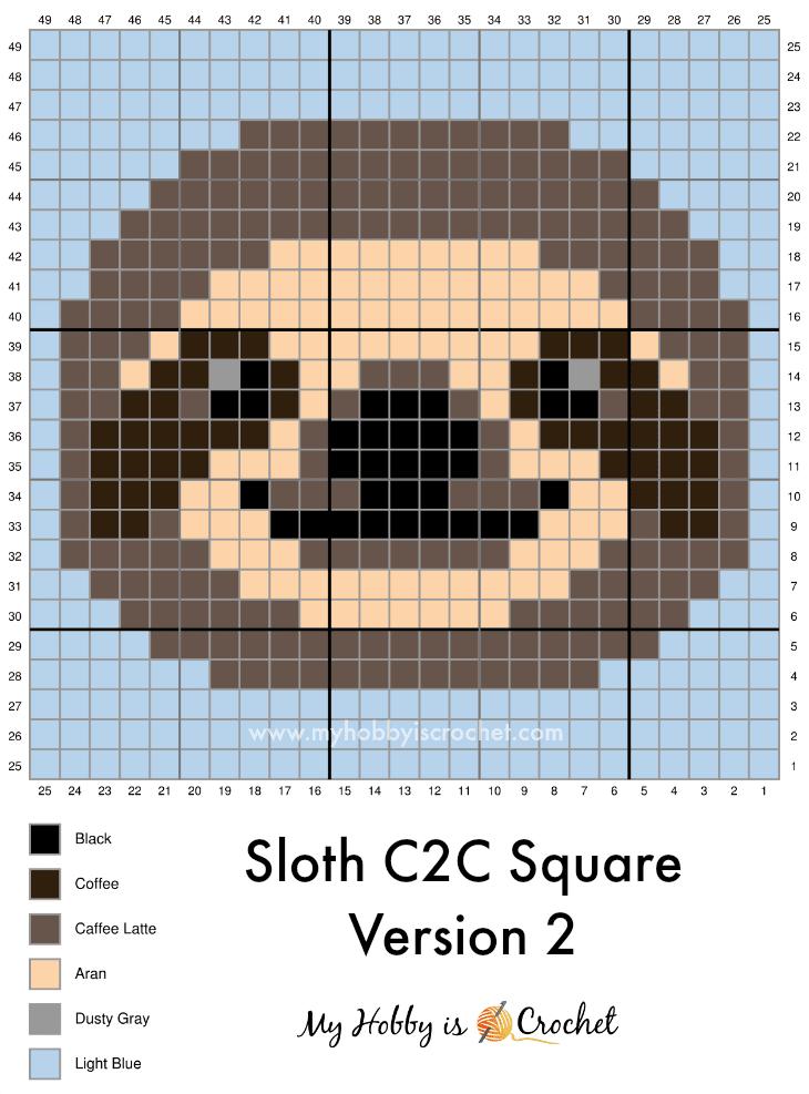 Photo of Free Crochet Pattern: Sloth C2C Square – Wildlife Graphghan CAL, Block 18