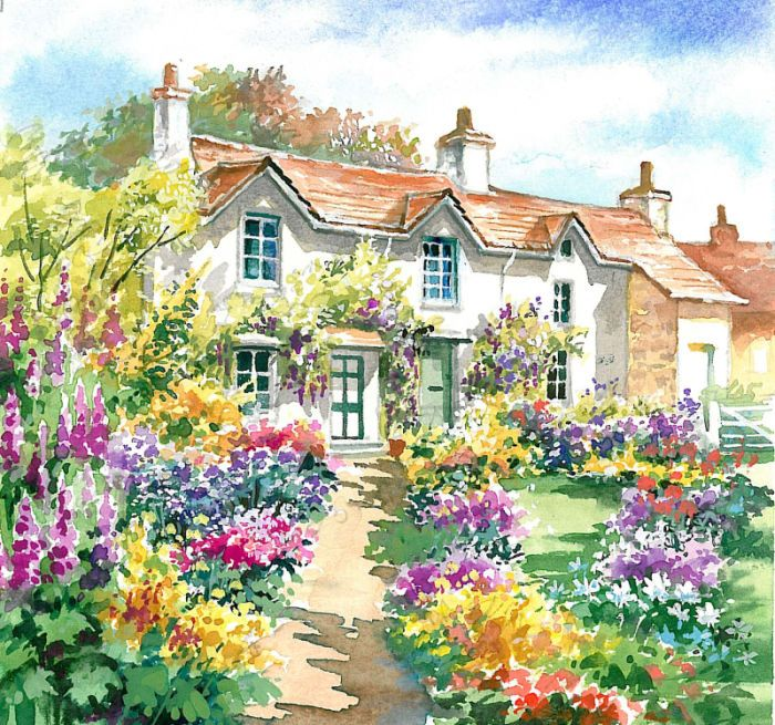 Jim mitchell cottage garden fun pinterest for Watercolor cottages