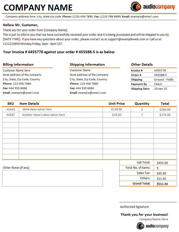 Customer Order Received Letter Invoice – Invoice Letter