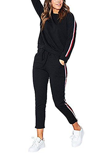 ShallGood Minetom Femme Casual Mode Sweat Shirt Pantalon Col Rond Tops  Leggings Yoga Jogging Survêtement Ensemble De Sportwear Noir EU 3XL 71d844f0128