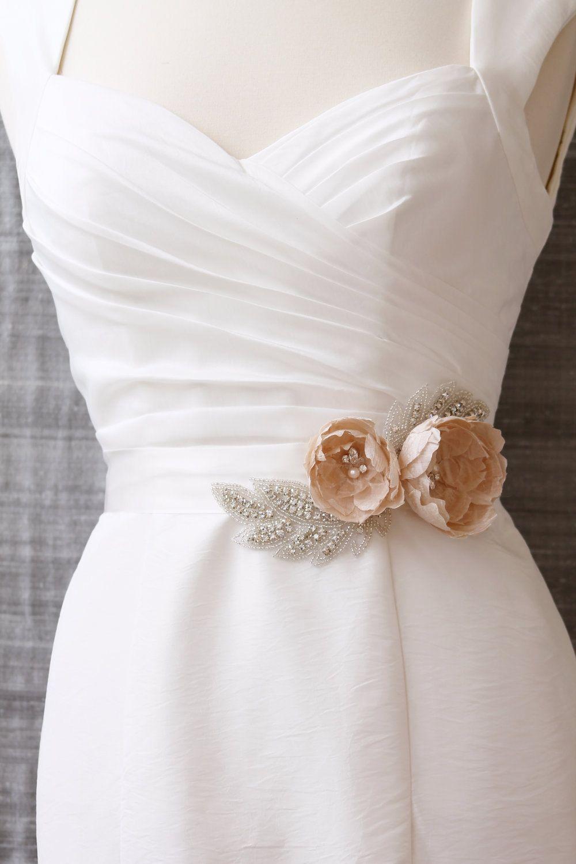 Blush pink bridal sash, peach silk wedding belt, luxury handmade ...