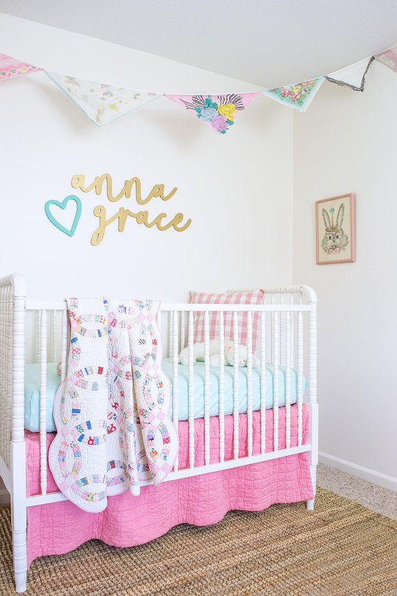 Baby Name Sign Above Crib First And Middle Signs Nursery Wall Decor Pastel