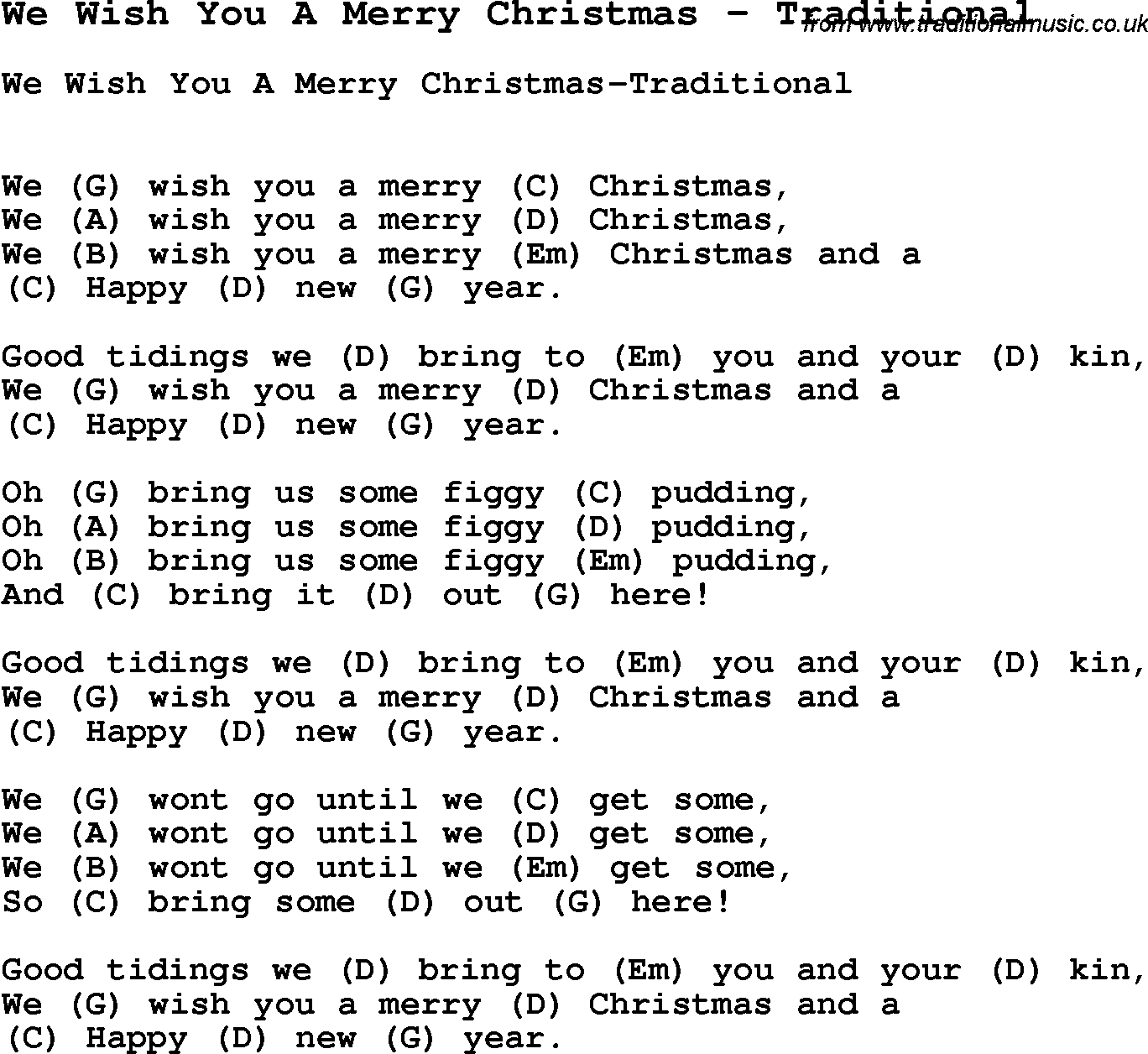 Song We Wish You A Merry Christmas By Traditional With Lyrics For
