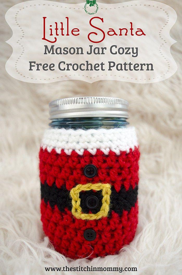 Little Santa Mason Jar Cozy Free Crochet Pattern Crochet Jar Covers Mason Jar Cozy Holiday Crochet