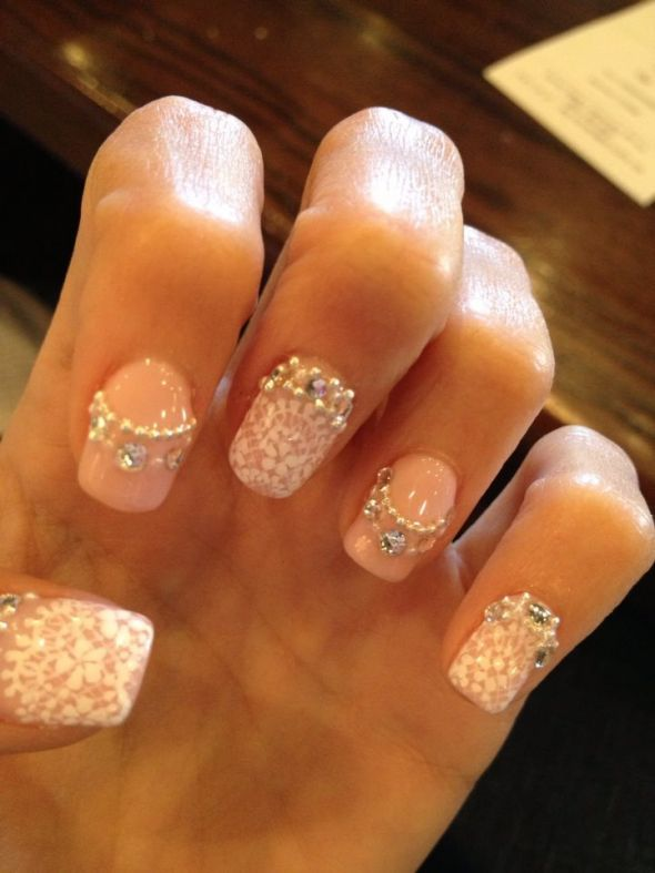 My Lace, Bling, and Pearl Wedding Nails!! : wedding bling ivory ...