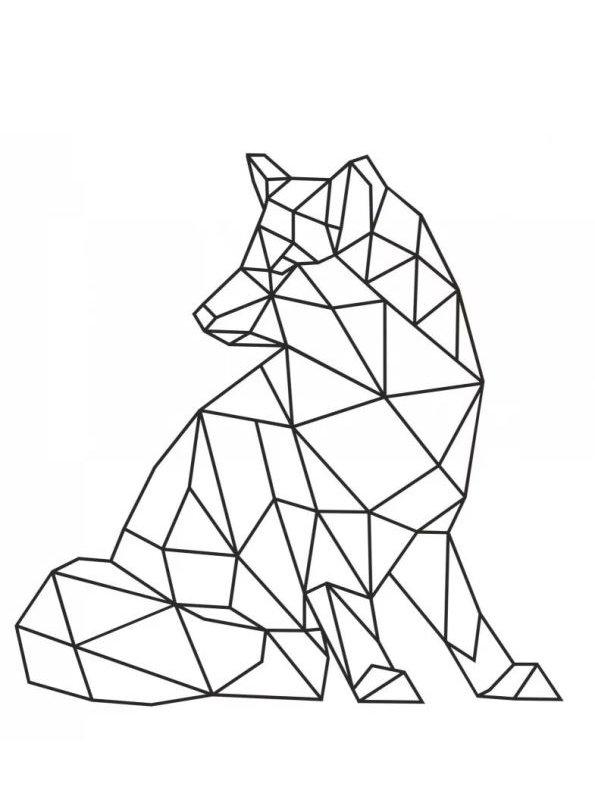 Kids N Fun Kleurplaat Geometrische Vormen Vos Periodo Geometrico Dibujo Geometrico Origami Geometrico