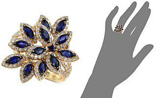 Velvet Bleu by EFFY Sapphire (1-3/8 ct. t.w.) and Diamond (5/8 ct. t.w.) Petal Ring in 14k Gold
