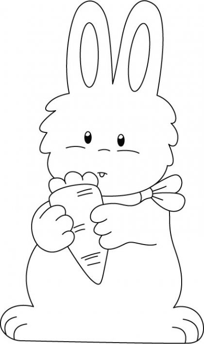 Rabbit enjoying carrot coloring pages Domestic Animals Coloring