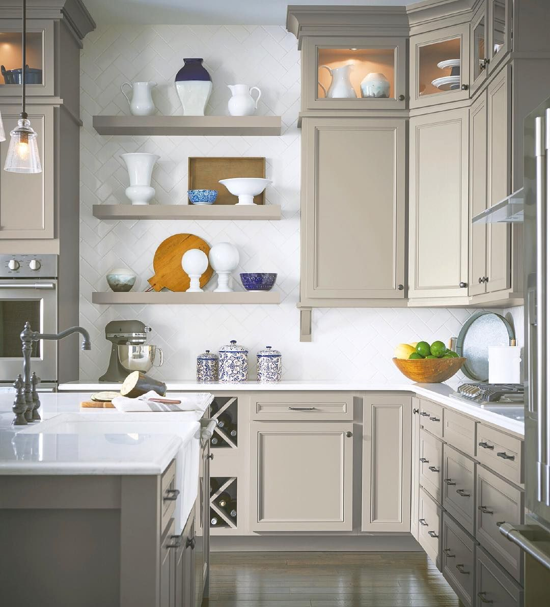 Open Shelving Creates A Unique Space For Your Kitchen Simslohman Aristocraft Beautifulkitchen Kitchendesign Kitchen Kitcheninspo In 2020