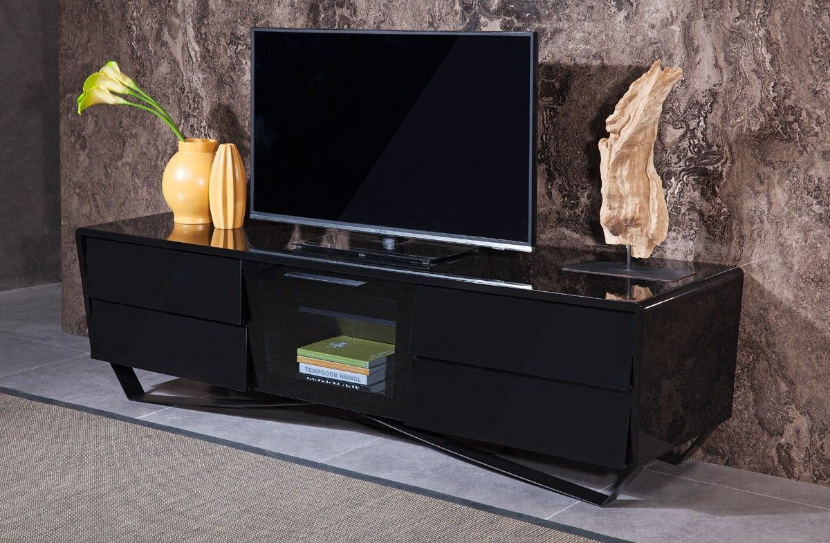 Modern 4 Drawers Metal Legs Glass Pull Down Door Black Tv Stand