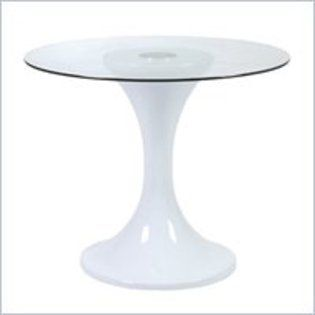 400 White Fibreglass Dining Table With 32 Inch Glass Top Fiberglass Dining Table Table Dining Table