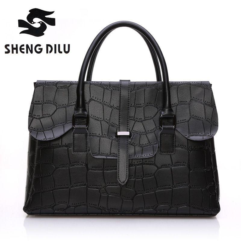 2017 Elegant Genuine Leather Bags For Women Business Crocodile Messenger Bag Cowhide Name Brand Handbags Woman Handbag 3043