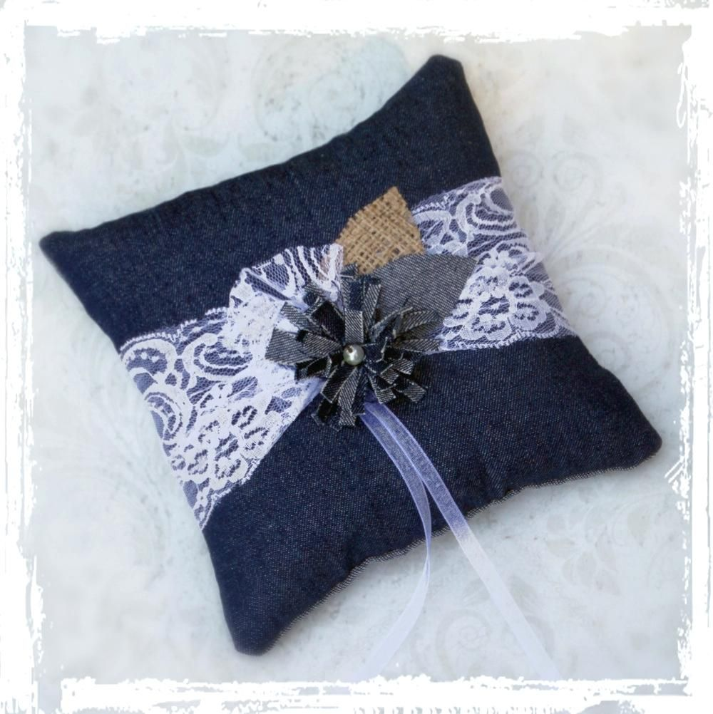 Denim Lace Ring Bearer Pillow Diy Burlap Wedding Ring Pillow Burlap