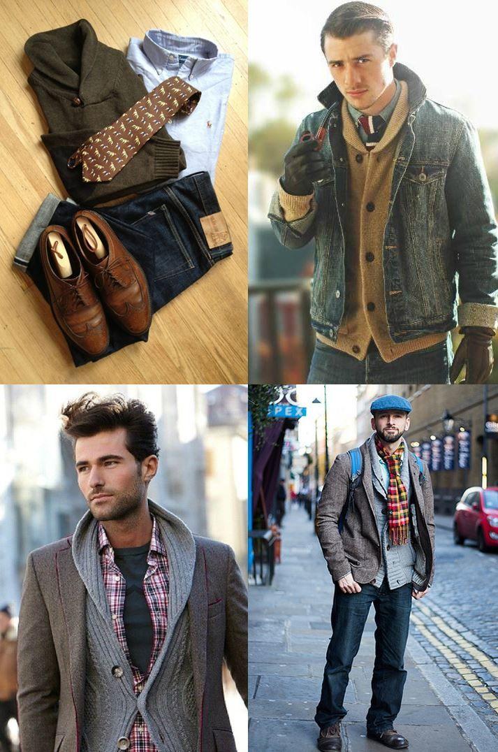 Shawl collar cardigan fashion for men