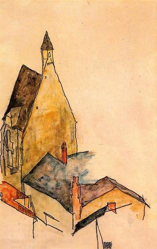 Spitalskirche, Molding by Egon Schiele