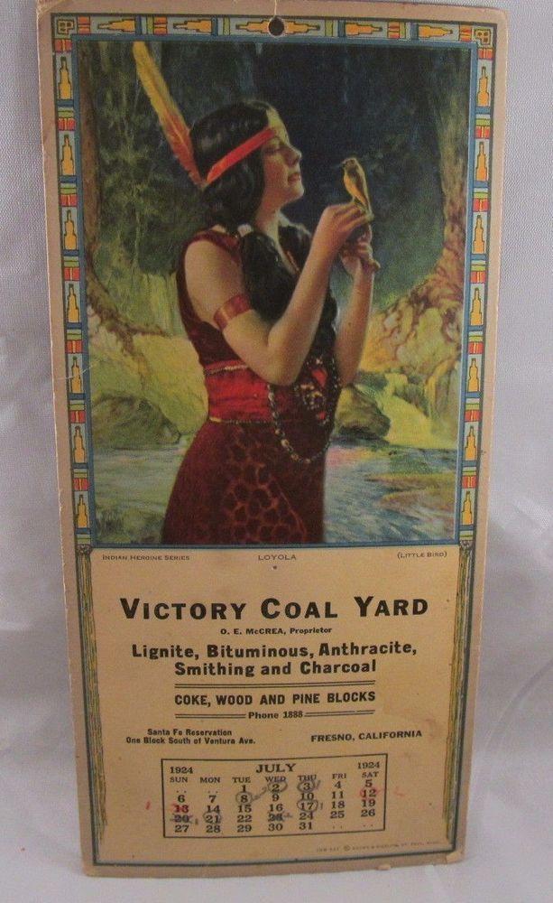 Loyola Calendar.Rare 1924 Indian Maiden Print Loyola On July Promo Calendar