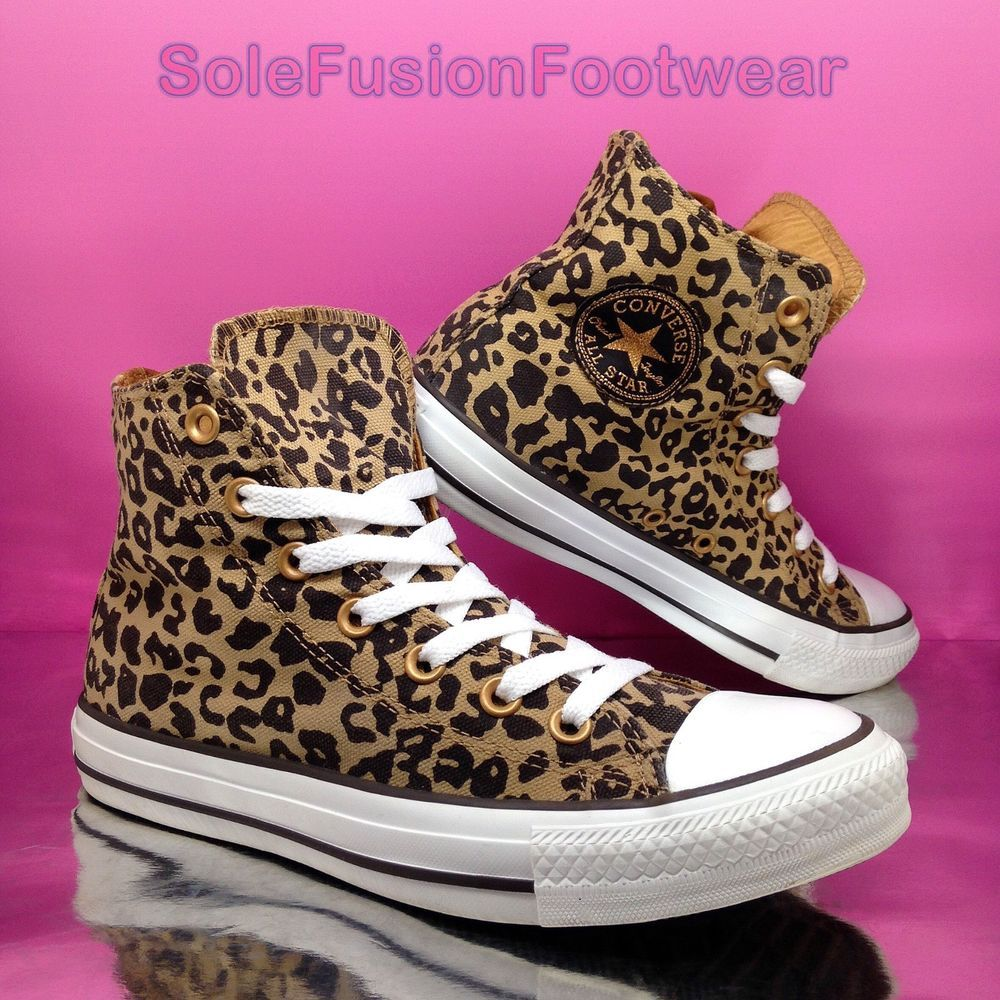 7f82291d300ac5 Converse Womens All Star Jaguar Trainers Brown Gold size 6 Animal Hi Top US  8 39