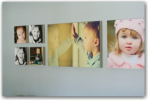 canvas: four 9x9, one 20x30 and one 20x20 | Photo Wall Arrangements ...