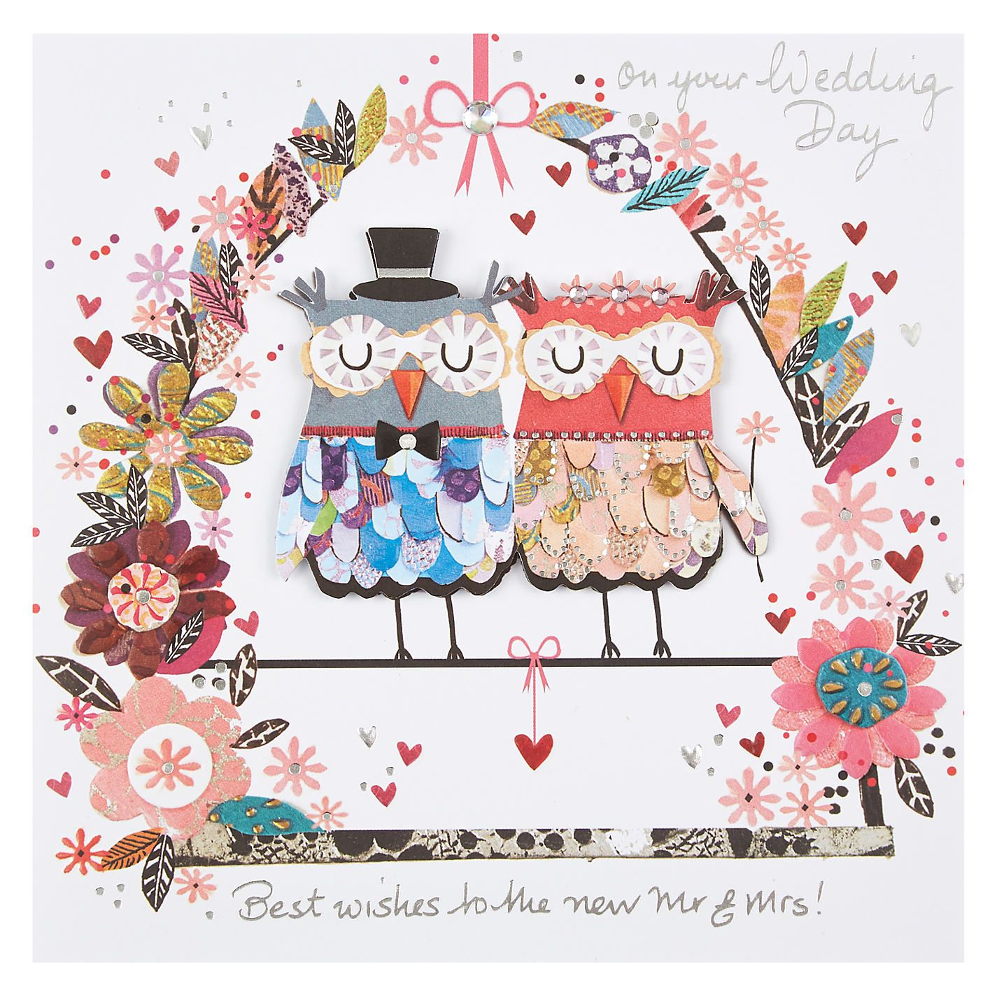 Buy Paper Rose Mr and Mrs Owl Handmade Wedding Card from our ...