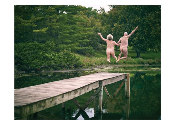 Image result for old couple jumping off dock