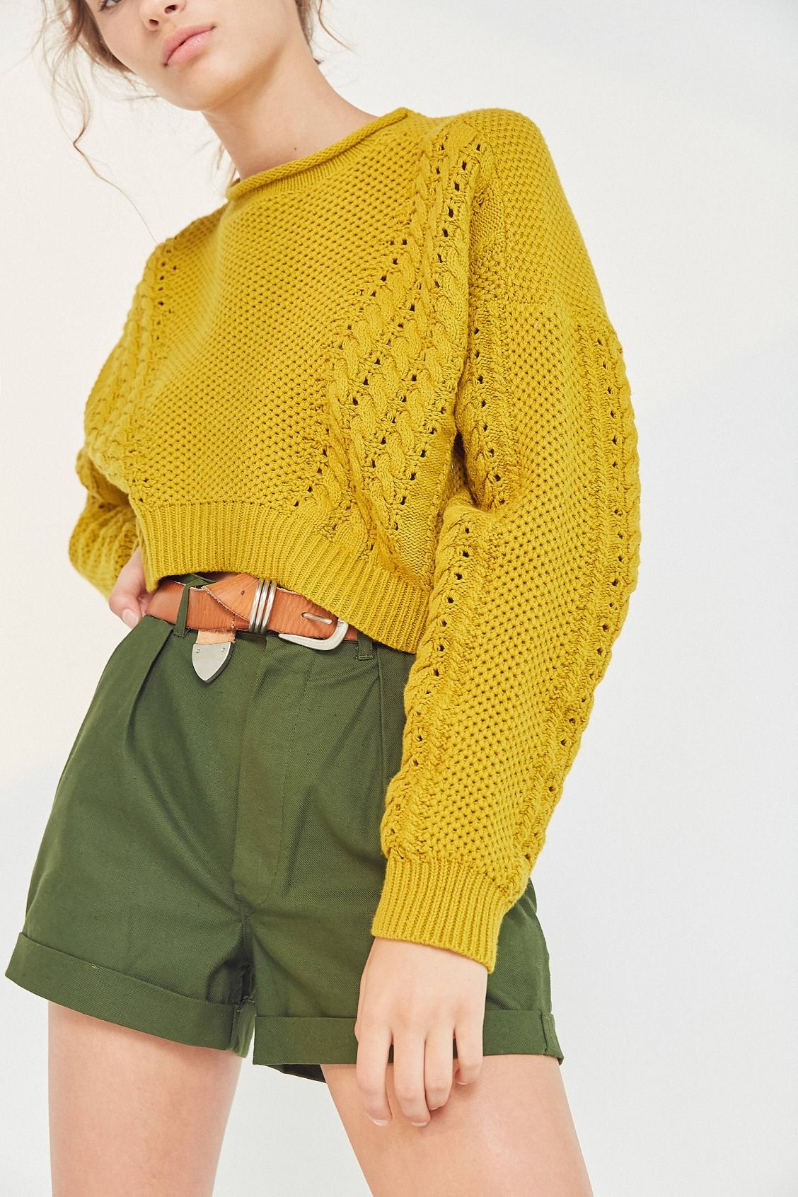 BDG Slouchy High/Low Cable Knit Sweater | Cable knit sweaters ...
