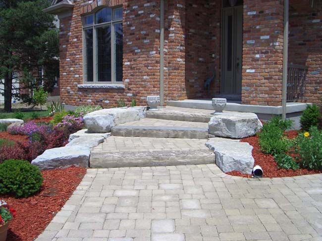 Armour Stone Four 4 Stairs With End Stone Front Entrance Armour Stone Natural Stone Steps And Pavers T Front Yard Landscaping Walkway Design Front Entryway