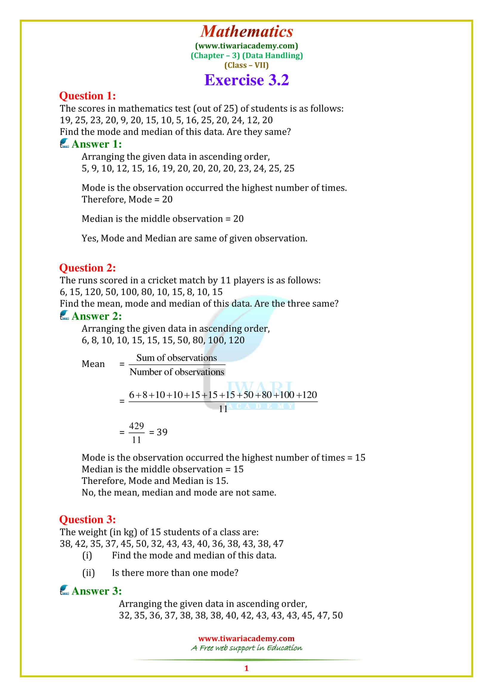 Ncert Solutions For Class 7 Maths Chapter 3 With Images Math