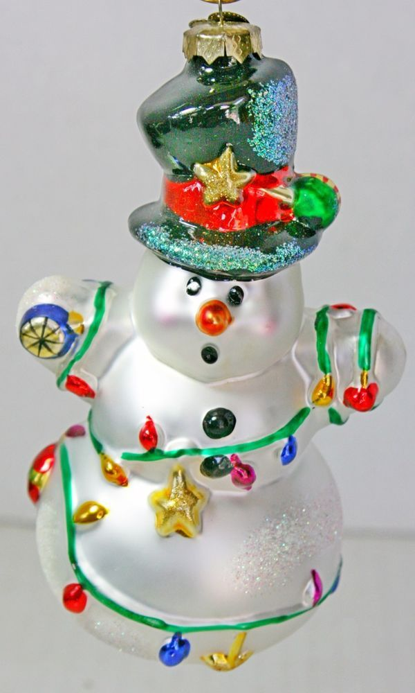 Vintage Snowman In Lights Old World Christmas Merck Family Glass Ornament  Frosty - Vintage Snowman In Lights Old World Christmas Merck Family Glass