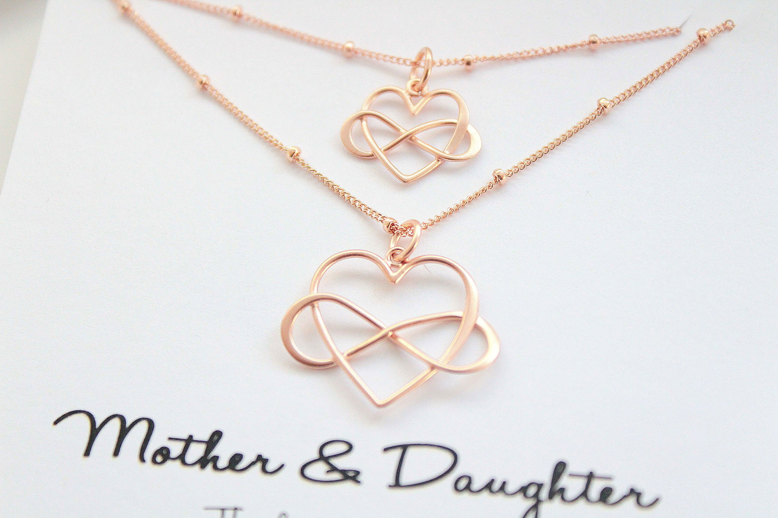 Photo of Mother Daughter necklace rose gold, Mother daughter gift, infinity Heart Necklace, set of 2, Mom necklace, Mother daughter jewelry