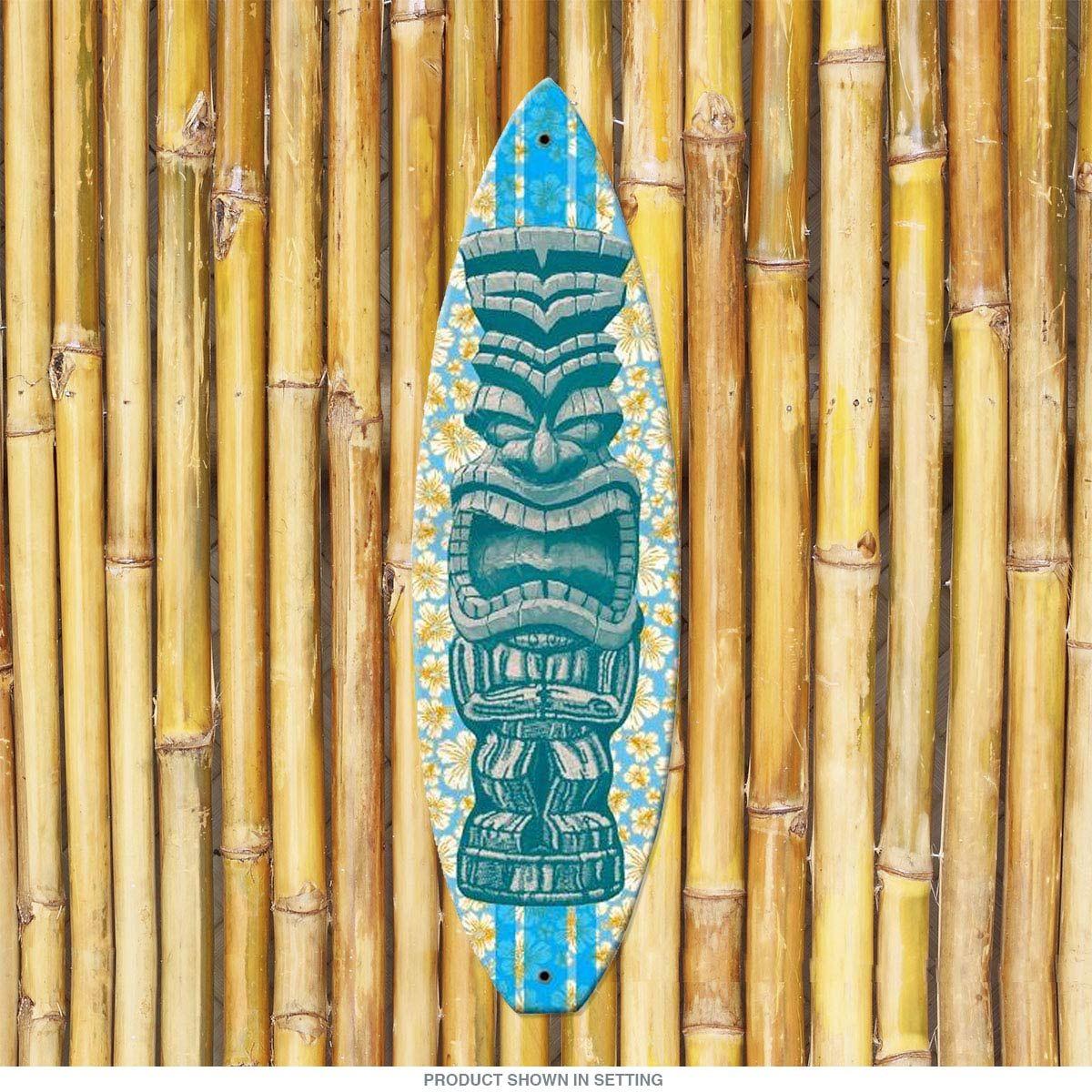 Best This Hawaiian Tiki G*D Surfboard Blue Metal Sign Is 400 x 300