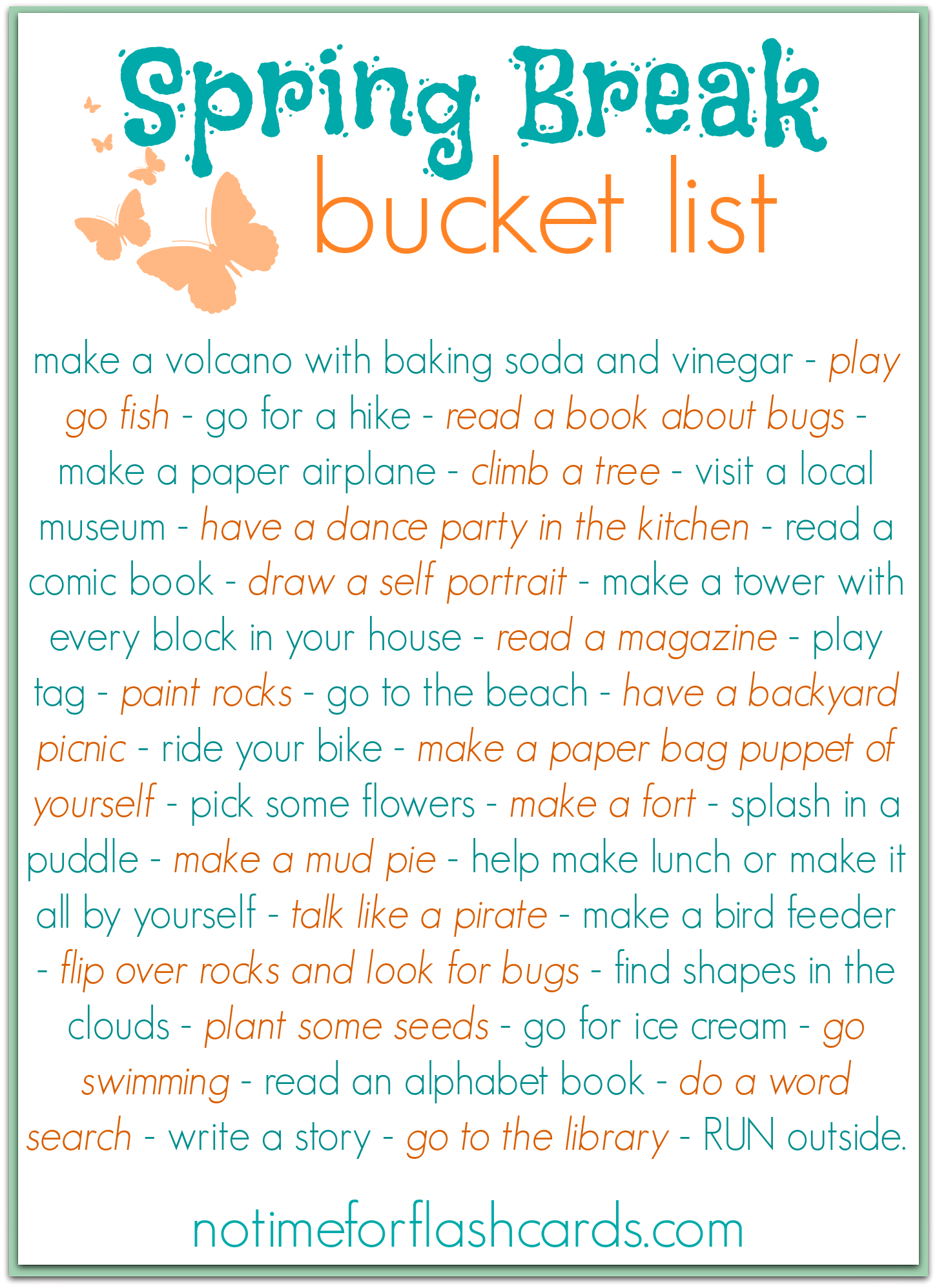 spring break bucket list - free printable | young kids | spring