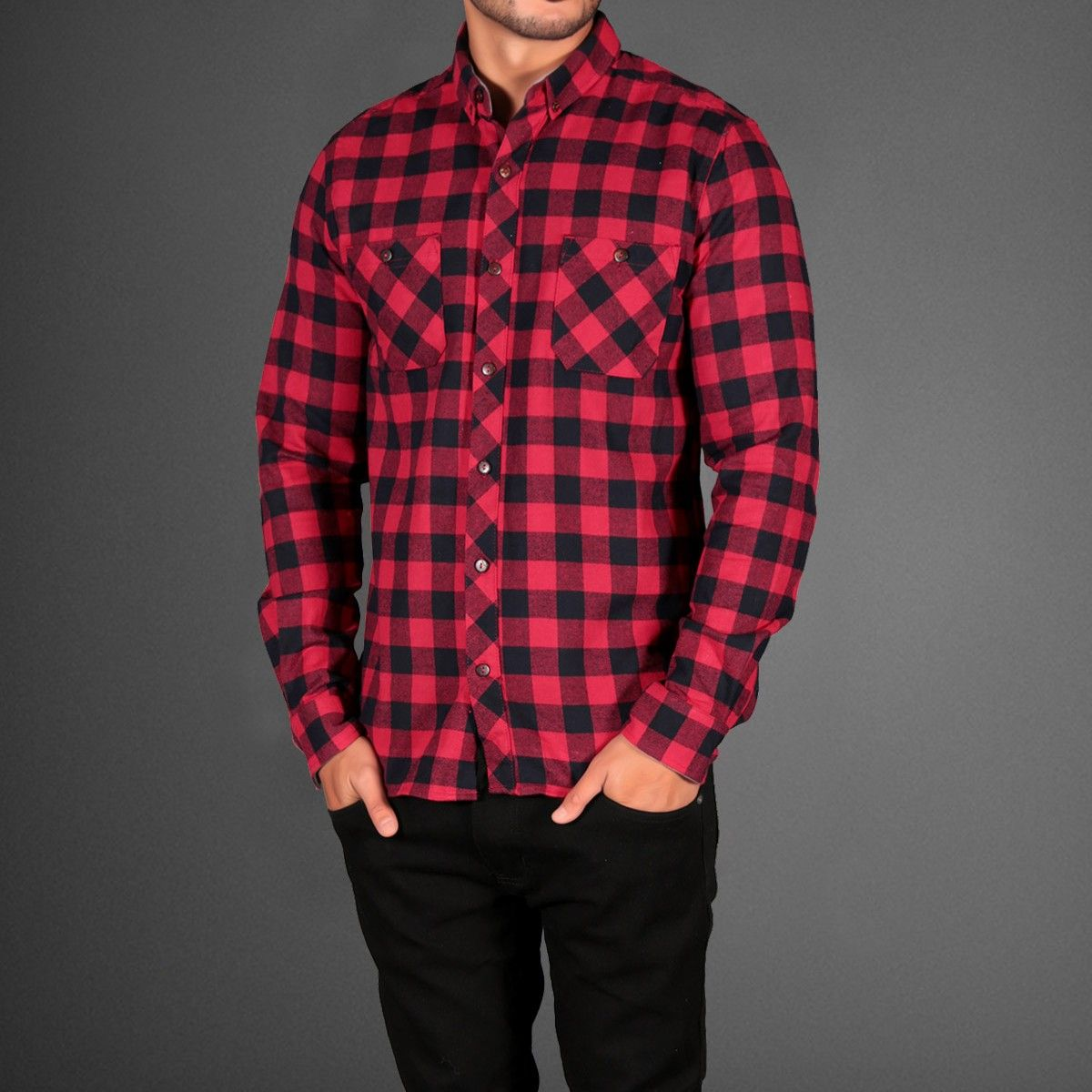 Red And Black Plaid Flannel Check Shirt | Dope Swag | Pinterest ...