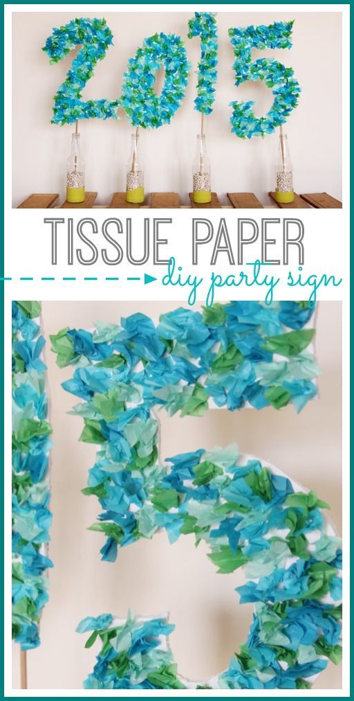 Make a an easy DIY tissue paper party sign for your next event. Ideal for graduation parties