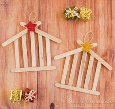 Weihnachtsverzierung: Stall mit Eiscremestöcken - #decorationnoelfaitmainenfant