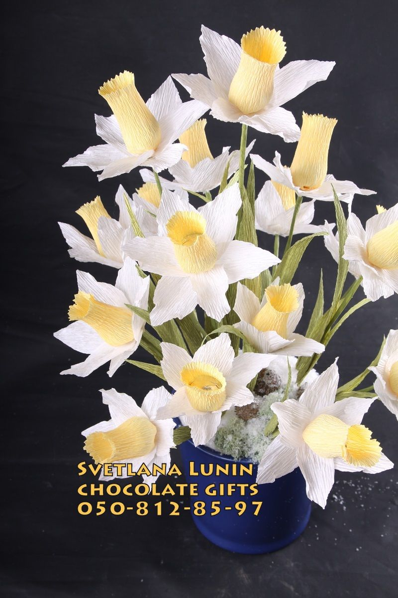 Handmade flowers of narcissus with chocolate inside.